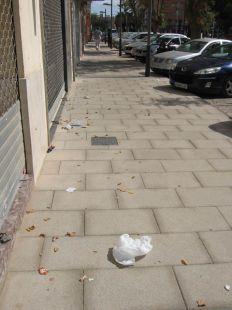 Suciedad en las calles Francisco de Borja y Luis Calandre