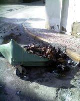 Contenedor quemado en el Puerto de Mazarrón